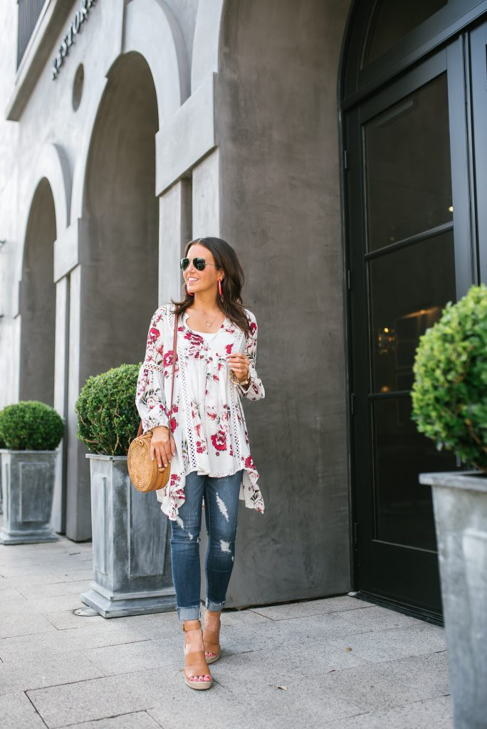 spring outfit | white floral tunic | brown wedge sandals | Petite Fashion Blogger Lady in Violet