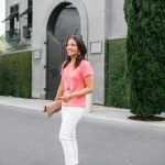 Coral Top + White Denim