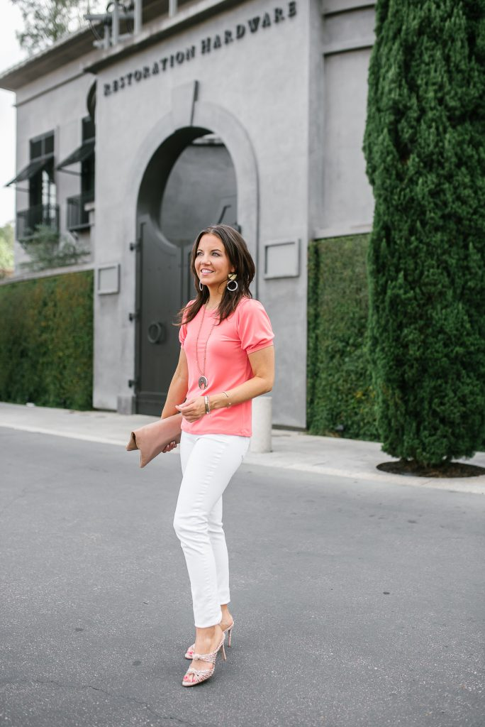 summer outfit | coral puff sleeve top | white skinny jeans | Petite Fashion Blogger Lady in Violet