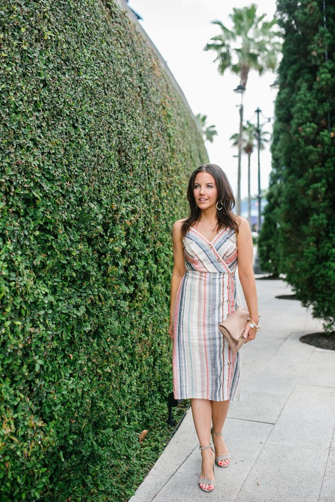 summer outfit | striped midi dress | block heel sandals | Petite Fashion Blogger Lady in Violet