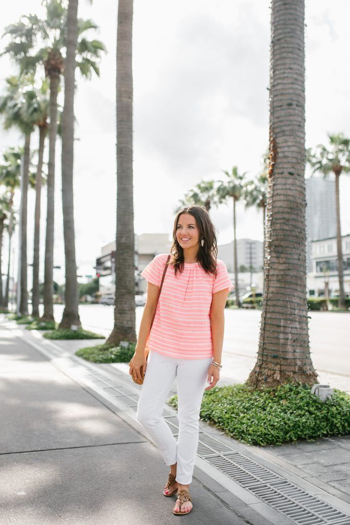 summer vacation outfit | pink stripe top | white jeans | Petite Fashion Blogger Lady in Violet