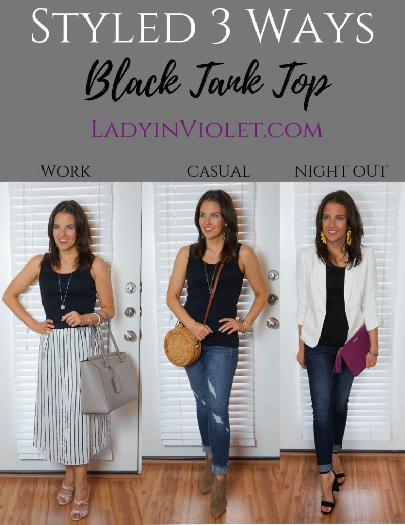 three ways to wear a black tank top to work, casual outfit, and date night look by Petite Fashion Blogger Lady in Violet