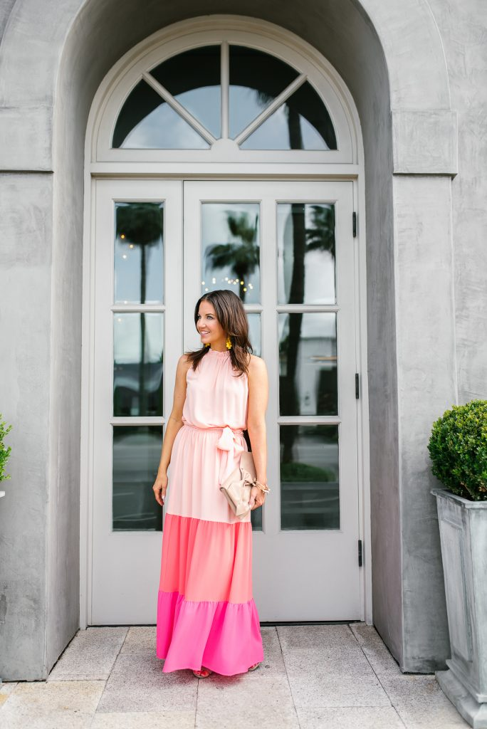 what to wear to a summer wedding | colorblock maxi dress | Petite Fashion Blogger Lady in Violet