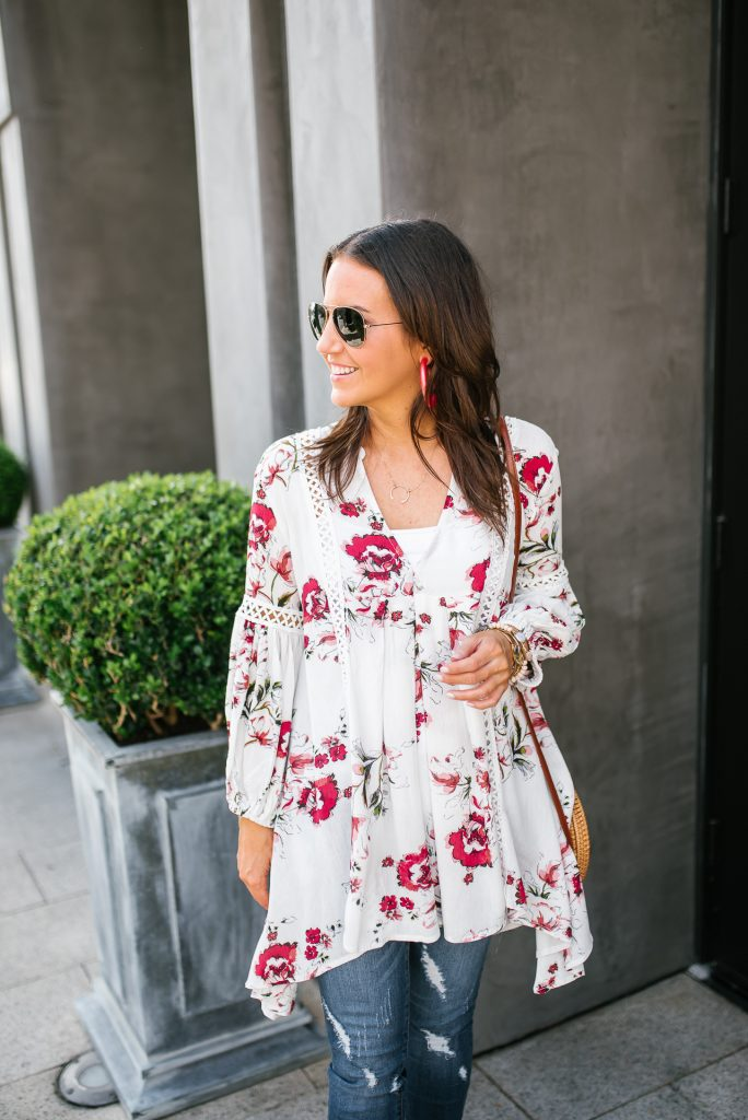 spring outfit | white floral top | pink statement hoop earrings | Houston Fashion Blogger Lady in Violet