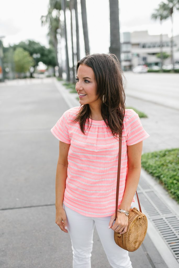 summer outfit | neon pink striped top | circle straw crossbody bag | Houston Fashion Blogger Lady in Violet