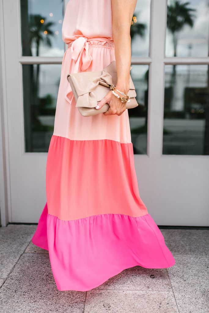 summer outfit | pink color block maxi dress | stone bangles | Houston Fashion Blogger Lady in Violet