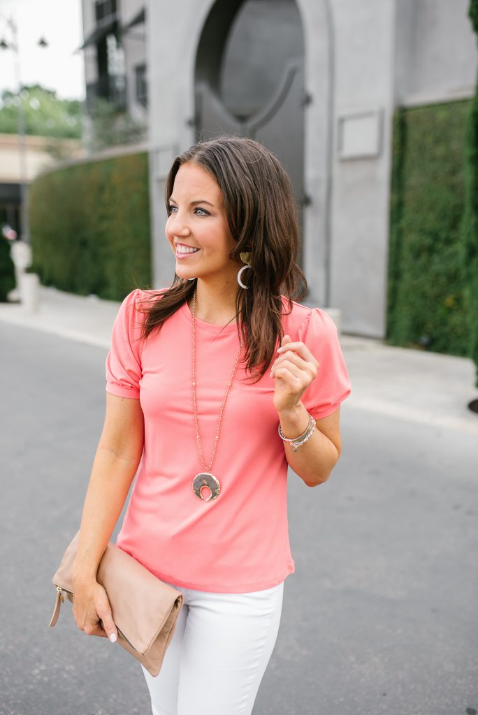 summer outfit | pink puff sleeve top | stone pendant necklace | Houston Fashion Blogger Karen Kocich