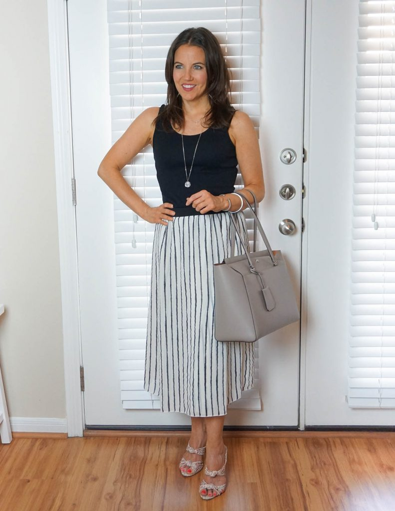 Summer work wear | black tank top | striped long skirt | Houston Fashion Blogger Lady in Violet