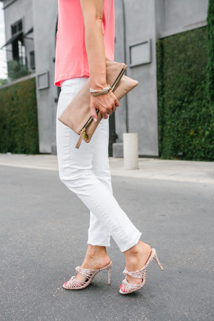 dressy casual outfit | white skinny jeans | floral heeled sandals | Petite Fashion Blogger Lady in Violet