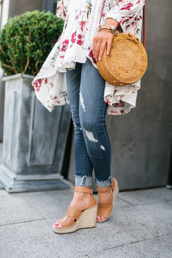 summer outfit | distressed jeans | brown wedge sandals | Petite Fashion Blogger Lady in Violet
