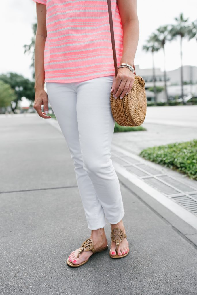 summer vacation outfit with white jeans | tory burch miller sandals | Petite Fashion Blogger Lady in Violet