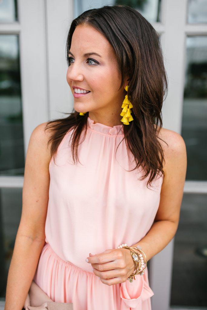 summer wedding outfit | yellow statement earrings | long pink dress | Houston Fashion Blogger Karen Kocich