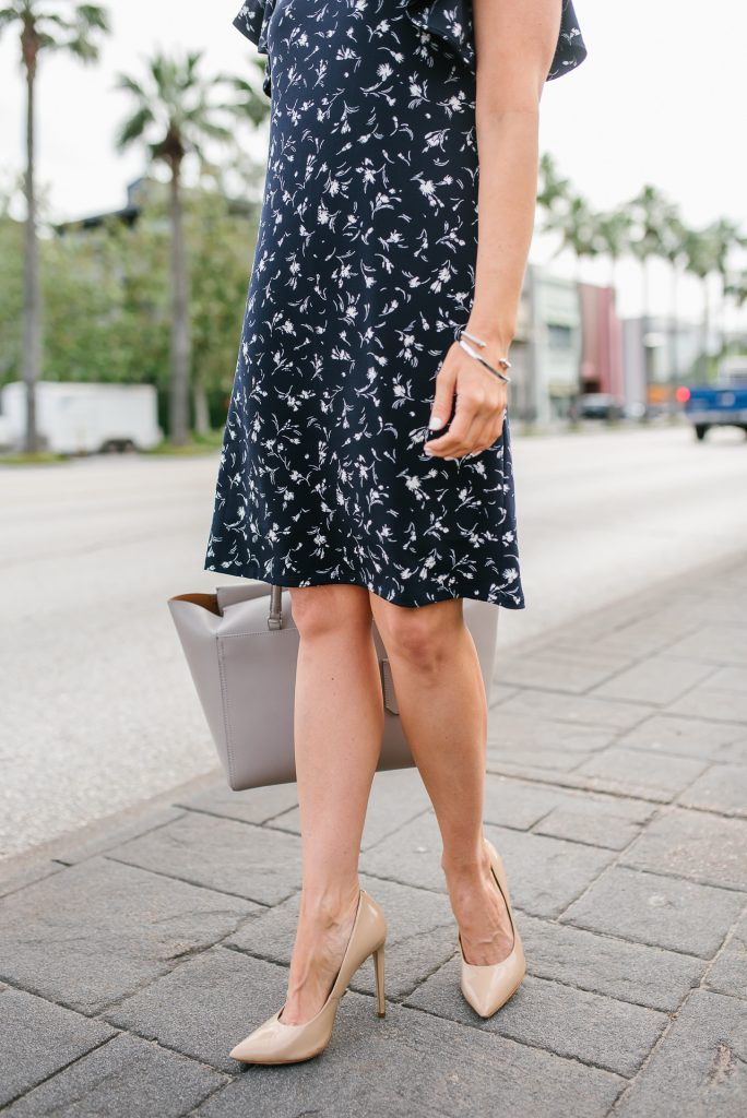 work outfit | navy floral dress | nude colored heels | Petite Fashion Blog Lady in Violet
