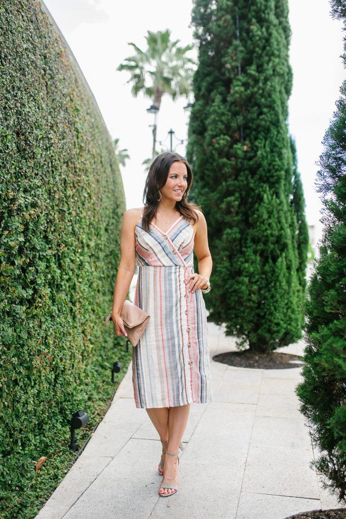 Graduation dress   pastel striped midi dress   petite fashion blogger Lady in Violet