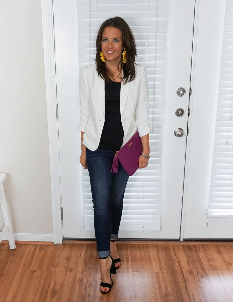 night out outfit | white blazer | cuffed jeans | Petite Fashion Blogger Lady in Violet