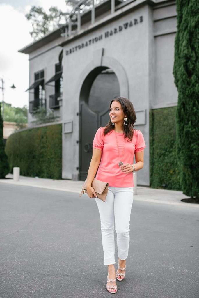 spring outfit | coral short sleeve top | white denim | Petite Fashion Blogger Lady in Violet
