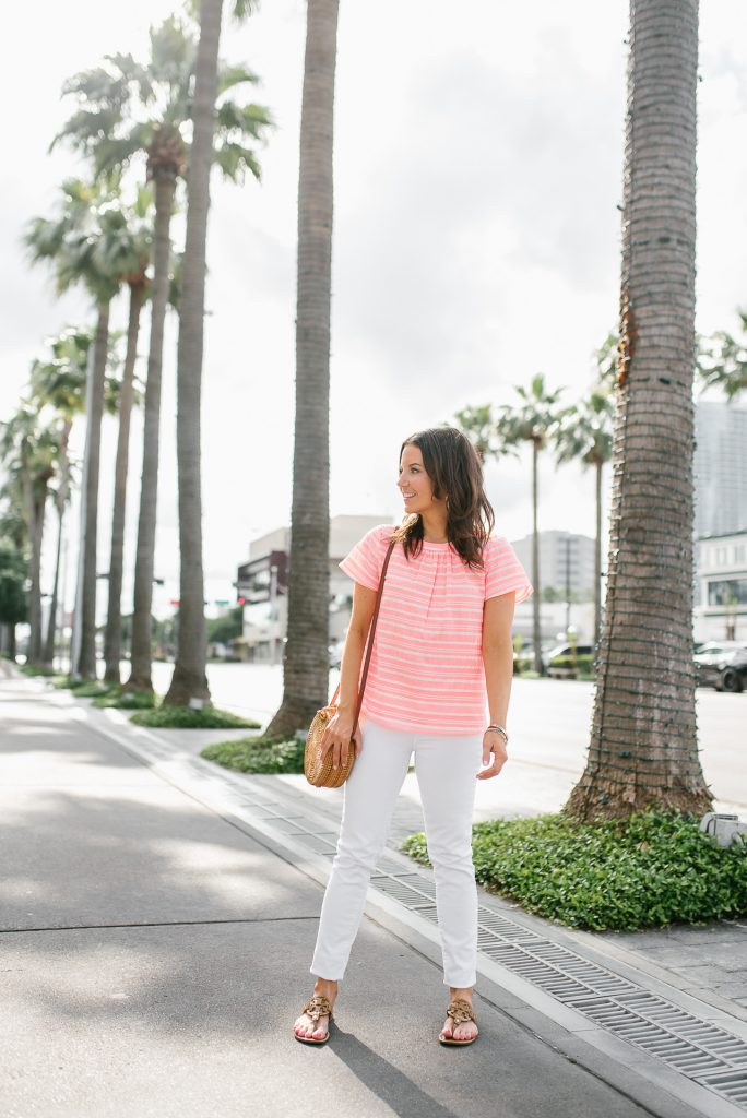 summer outfit | bright pink striped top | white skinny jeans | Houston Fashion Blogger Lady in Violet