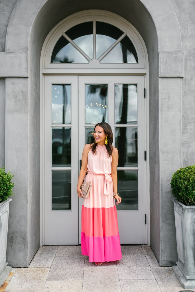 what to wear to a wedding | pink maxi dress | summer outfit | Petite Fashion Blogger Lady in Violet