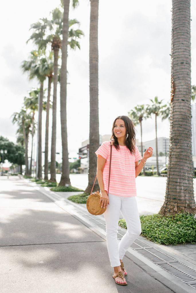 casual summer outfit | short sleeved pink blouse | white denim | Houston Fashion Blogger Lady in Violet