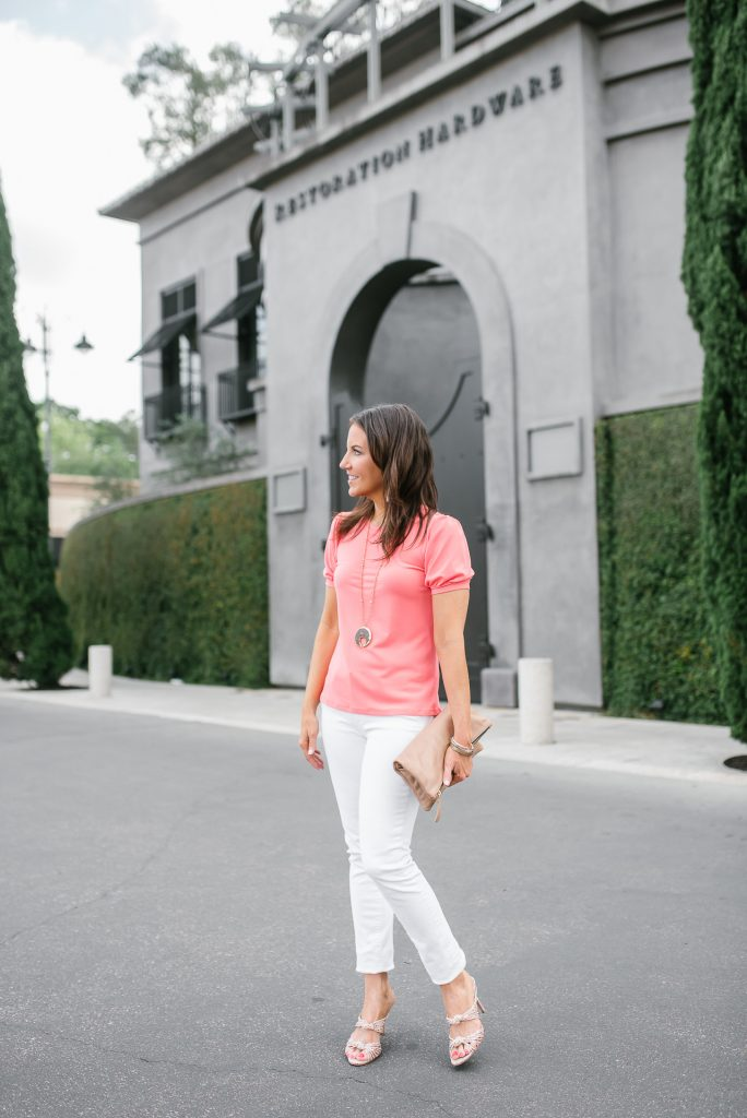 dressy day outfit | pink short sleeve top | white jeans | Houston based Petite Fashion Blogger Lady in Violet