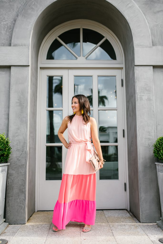 summer outfit | long pink dress | yellow earrings | Houston Fashion Blogger Lady in Violet