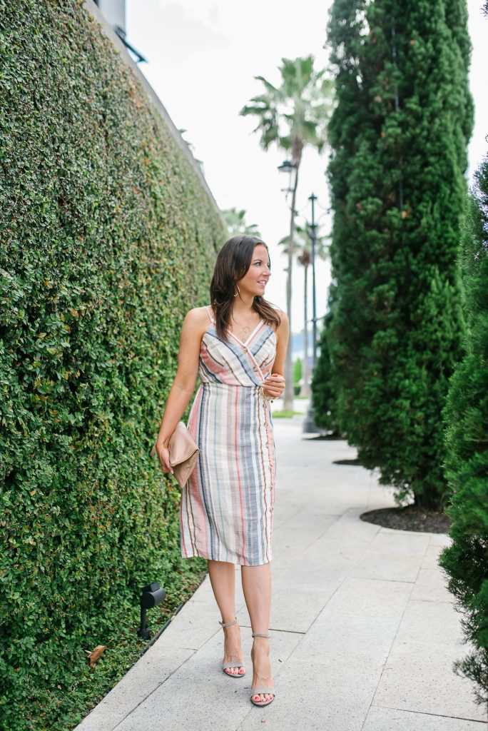 Summer outfit | striped cami dress | nude colored block heel sandals | Houston Fashion Blogger Karen Kocich