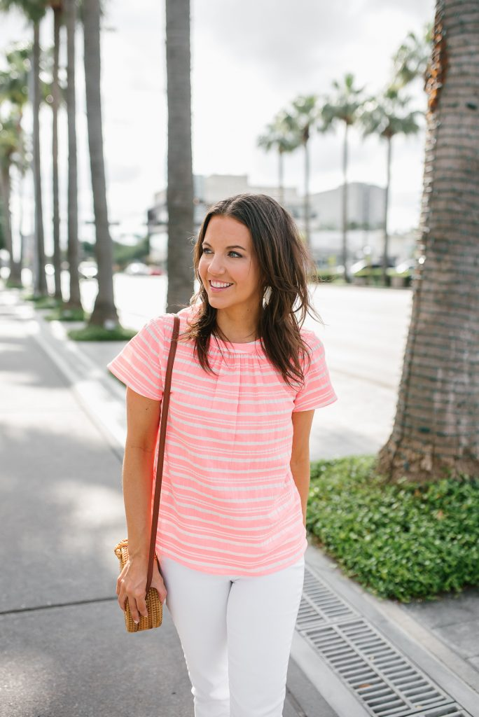 casual vacation outfit | tropical pink striped top | white jeans | Petite Fashion Blogger Lady in Violet