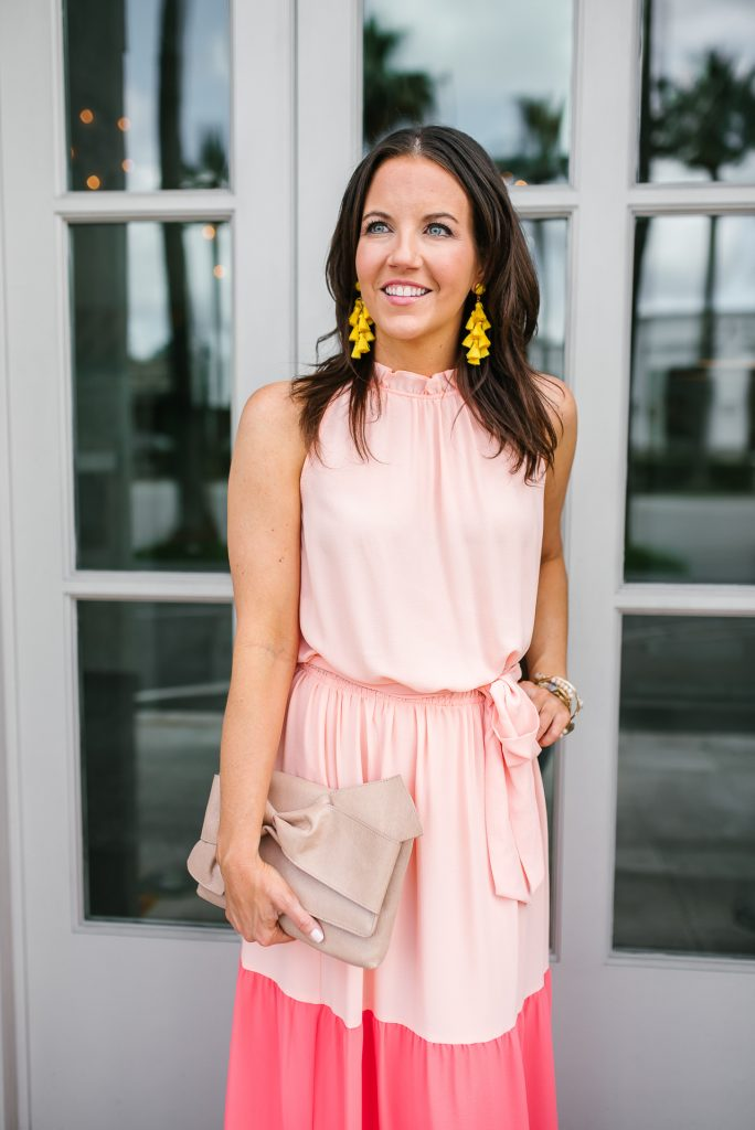 high neck pink dress | yellow statement earrings | summer fashion | Petite Fashion Blogger Lady in Violet