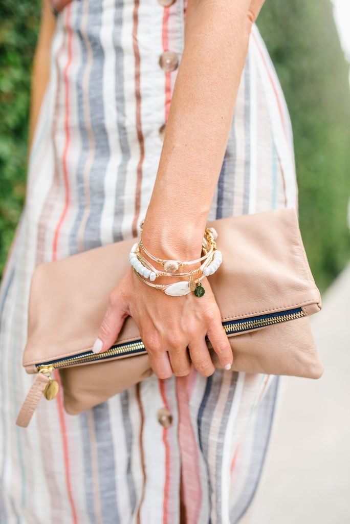 summer fashion | bourbon and boweties bangles | clare v foldover clutch | Petite Fashion Blogger Lady in Violet