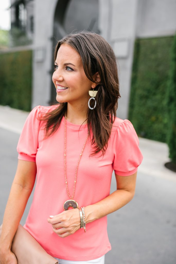 summer outfit | puff sleeve blouse | bourbon and boweties earrings | Houston Fashion Blogger Lady in Violet