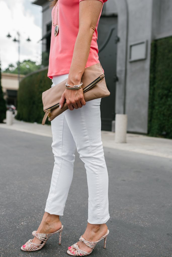 spring outfit | white jeans | schutz floral sandals | Petite Fashion Blogger Lady in Violet