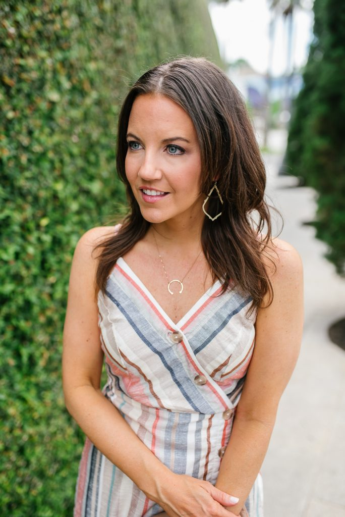 summer style | nashelle gold necklace | pastel striped cami dress | Houston Fashion Blogger Lady in Violet