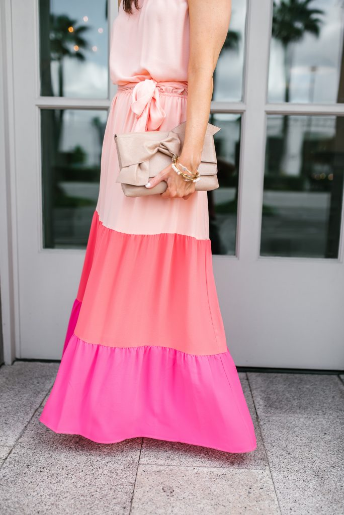 what to wear to wedding | pink color block maxi dress | nude colored clutch | Petite fashion Blogger Lady in Violet