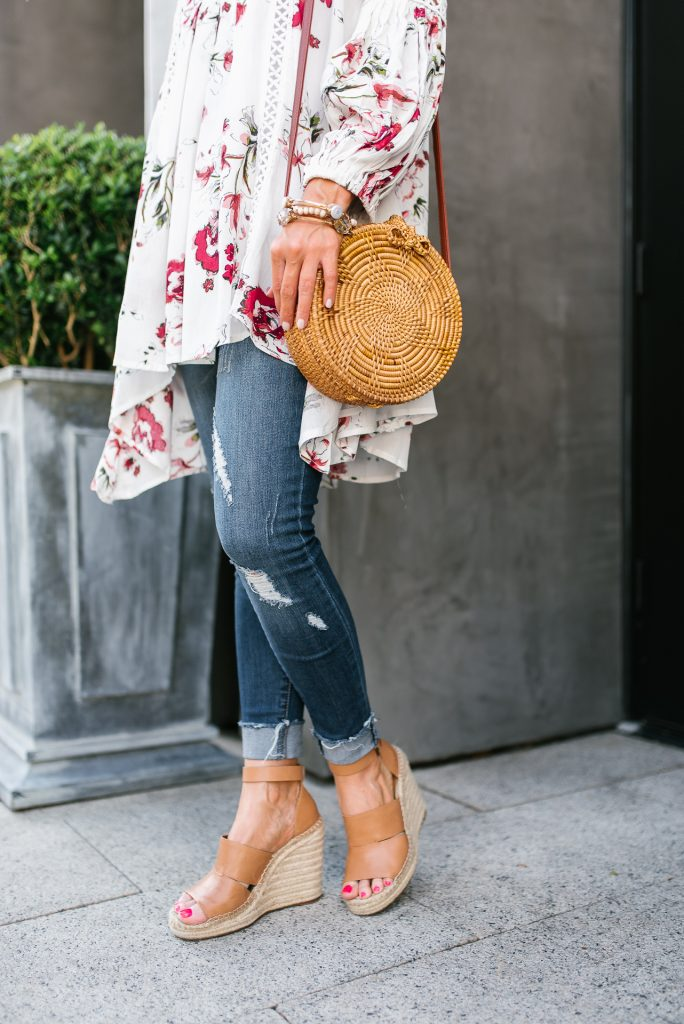 casual outfit | circle straw bag | brown wedges | Houston Fashion Blogger Lady in Violet
