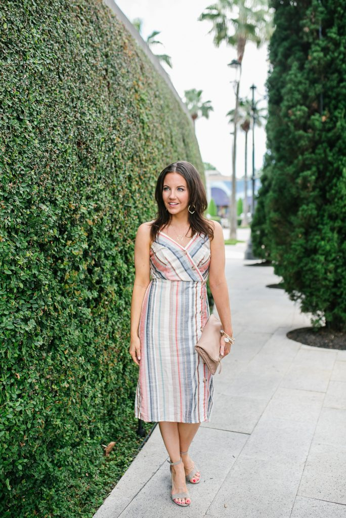 summer outfit   button front cami dress   beige block heel sandals   Petite Fashion Blogger Lady in Violet