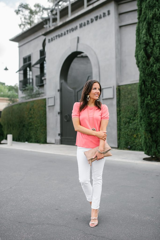 summer outfits | coral short sleeve blouse | white jeans | Houston Fashion Blogger Lady in Violet