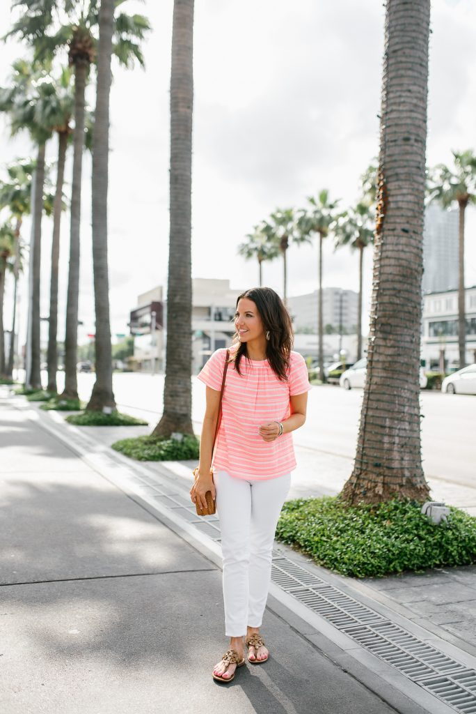summer vacation outfit with white jeans | bright pink striped blouse | Petite Fashion Blogger Lady in Violet