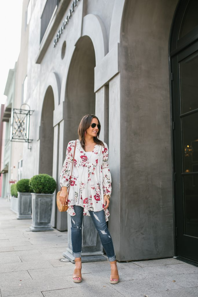 Spring outfit | white floral tunic | distressed jeans | Petite Fashion Blogger Lady in Violet