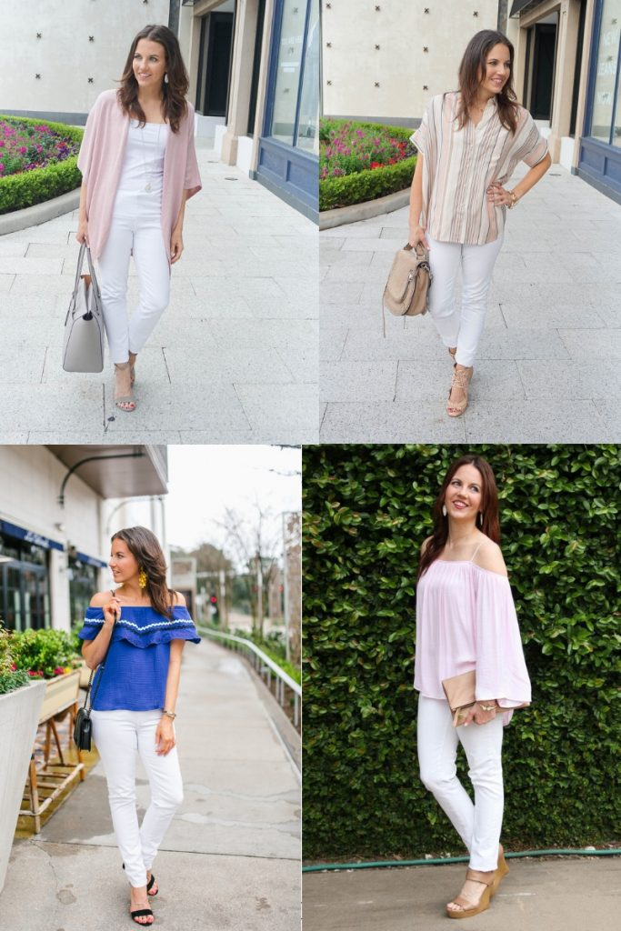 20 outfits with white jeans for spring and summer | Affordable Fashion Blogger Lady in Violet