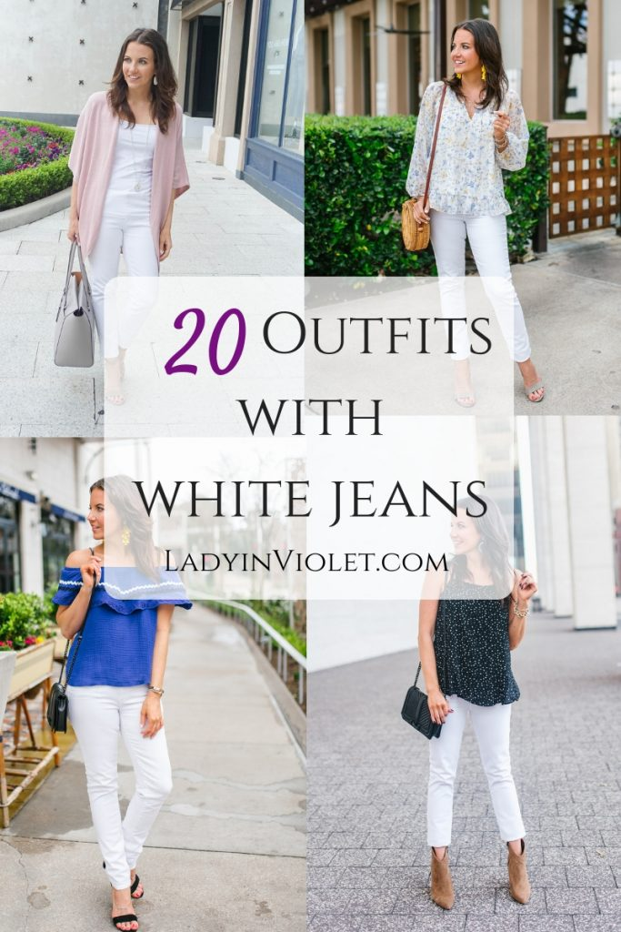 20 outfits with white jeans for summer and spring | Petite Fashion Blogger Lady in Violet
