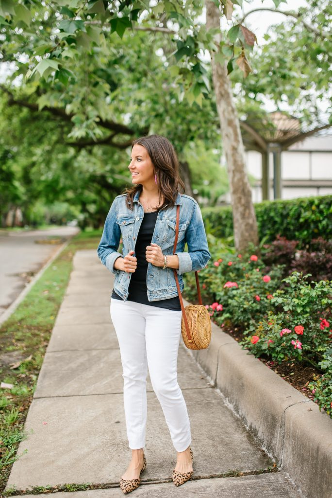 summer outfit | denim jacket | white jeans | Petite Fashion Blogger Lady in Violet