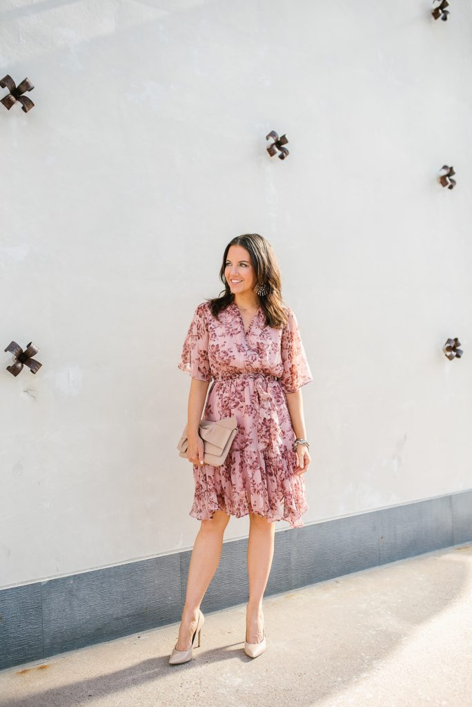 summer outfit | pink floral dress | rose gold earrings | Petite Fashion Blogger Lady in Violet