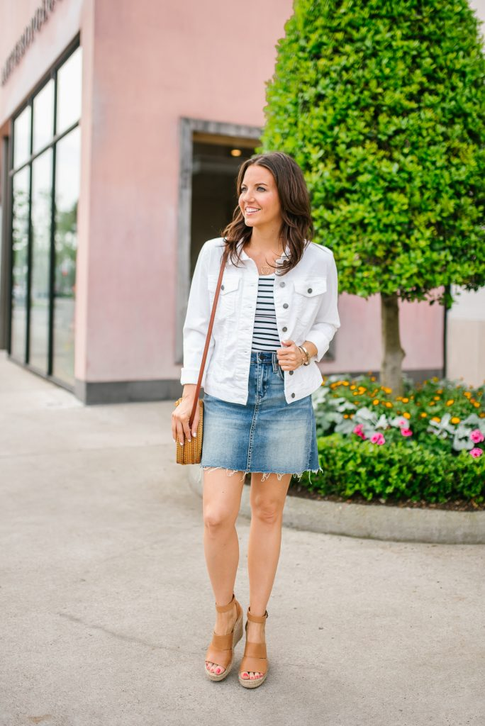summer outfit | white denim jacket | distressed jean skirt | Petite Fashion Blogger Lady in Violet
