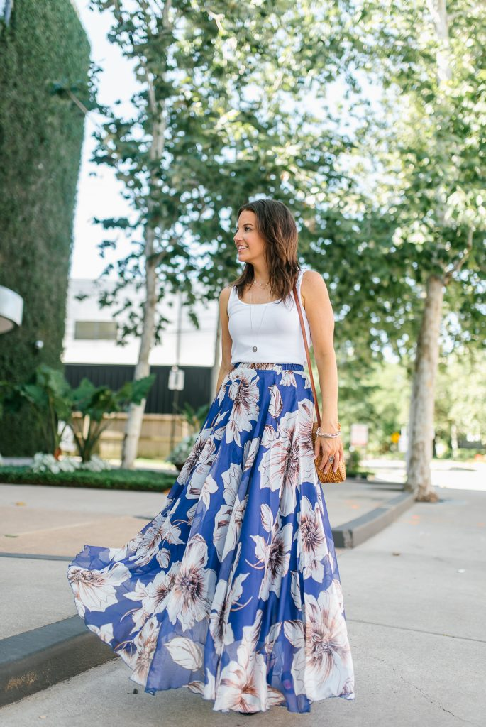 summer outfit | white tank top | blue floral maxi skirt | Petite Fashion Blogger Lady in Violet