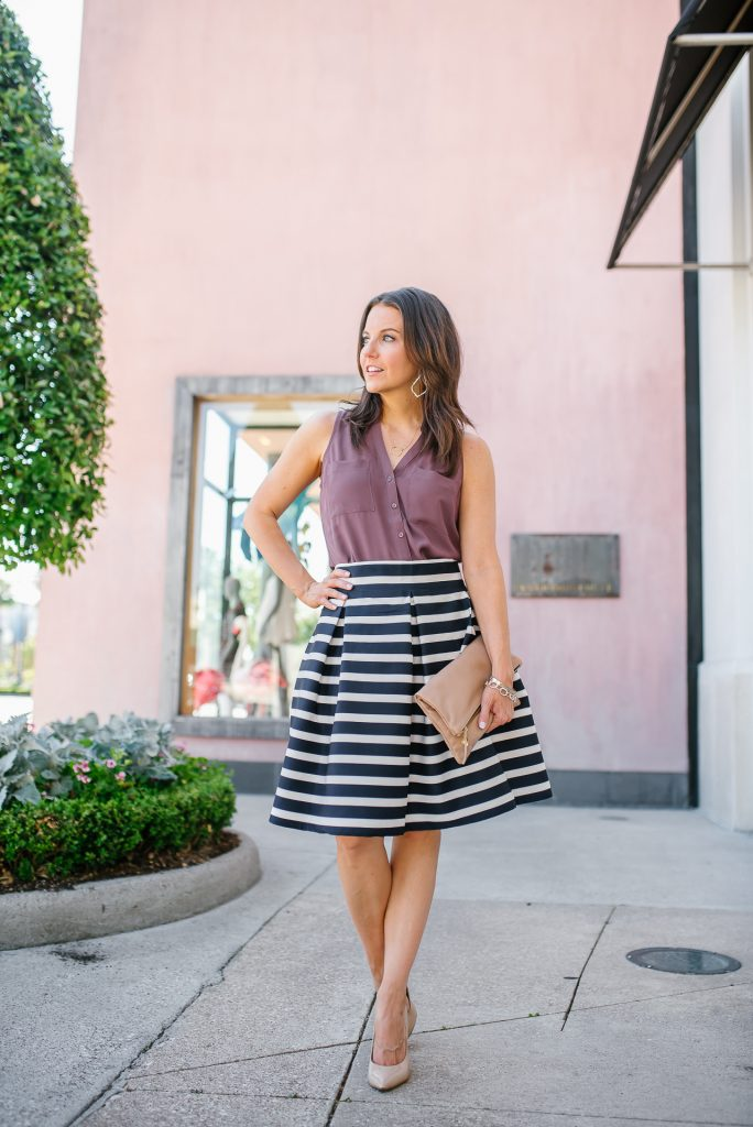 workwear | striped a-line skirt | mauve sleeveless blouse | Petite Fashion Blogger Lady in Violet