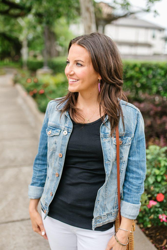 casual outfit | denim jacket | black tank top | Houston Fashion Blogger Karen Kocich