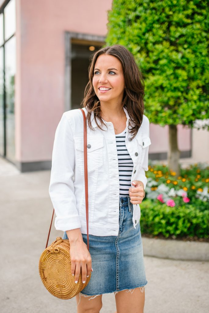 double denim outfit for summer | white jean jacket straw bag | Houston Fashion Blogger Karen Kocich
