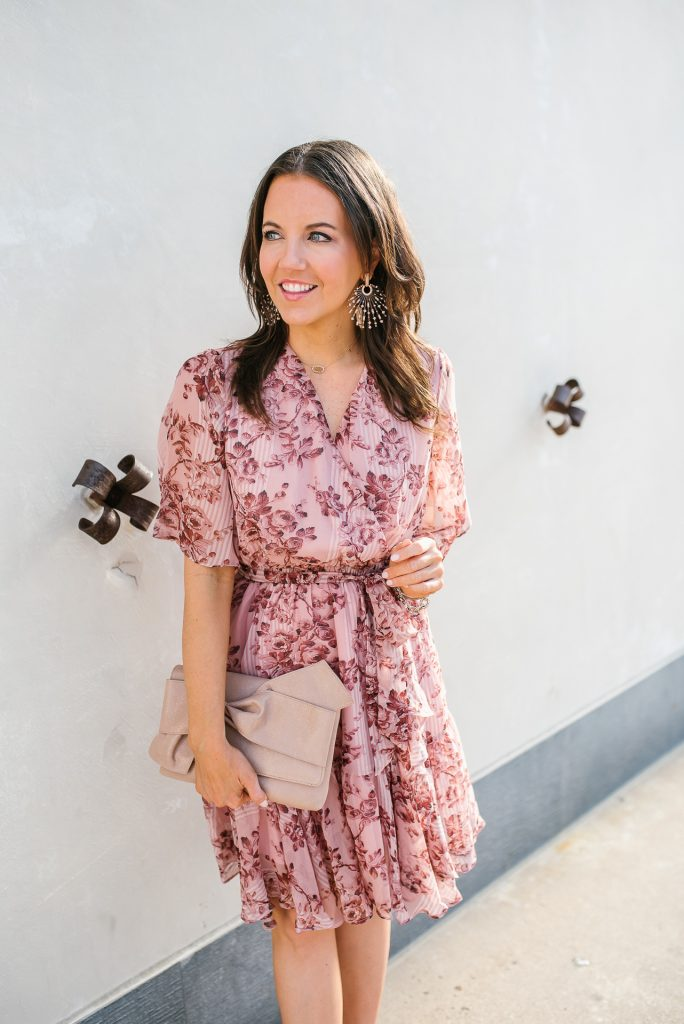 spring outfit | light pink chiffon dress | statement earrings | Houston Fashion Blogger Karen Kocich
