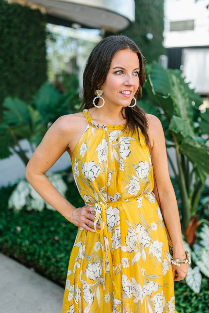 spring outfit | yellow maxi dress | statement earrings | Houston Fashion Blogger Karen Kocich