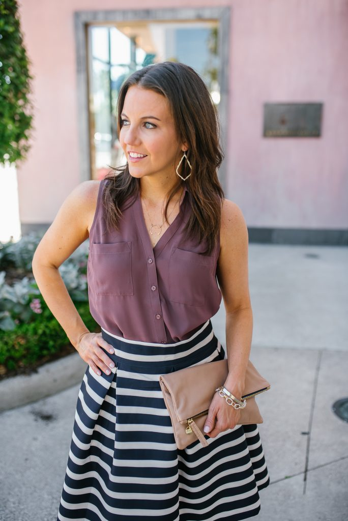 spring work outfit | dark pink top | striped skirt | gold jewelry | Houston Fashion Blogger Lady in Violet